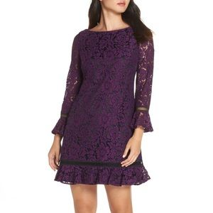 Eliza J Purple Floral Lace Bell Sleeve Shift Dress